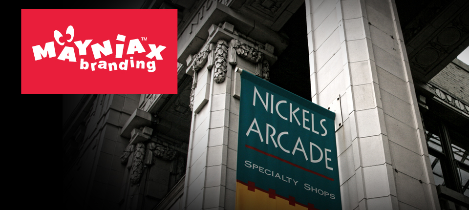 A Mayniax Branding photo of Nickels Arcade, located by the University of Michigan in Ann Arbor, Michigan.