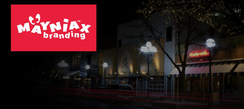 A Mayniax Branding photo of downtown Ann Arbor, Michigan, at night.