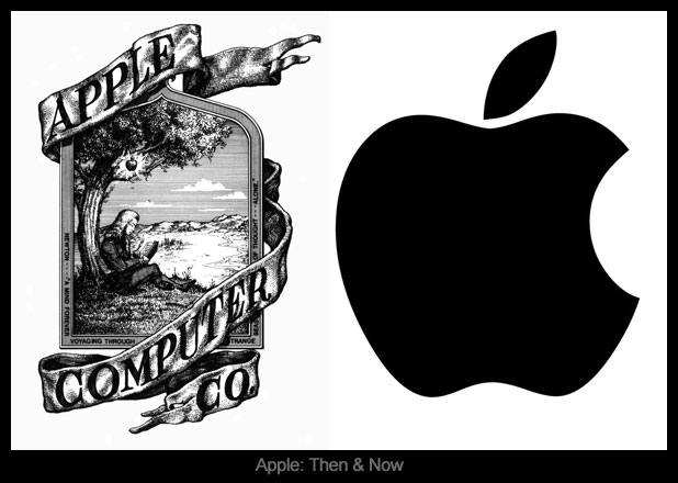 Mayniax Branding put together an image showing Apple's first logo, and what it looks like, now.