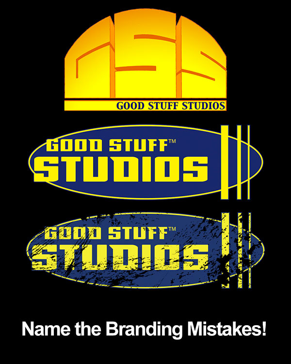 Mayniax Branding - Name the Branding Mistakes in the Good Stuff Studios Logo!