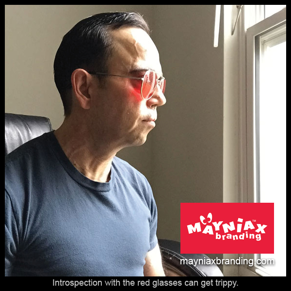 Dave Murray, Mayniax Branding - Introspection with the red glasses can get trippy