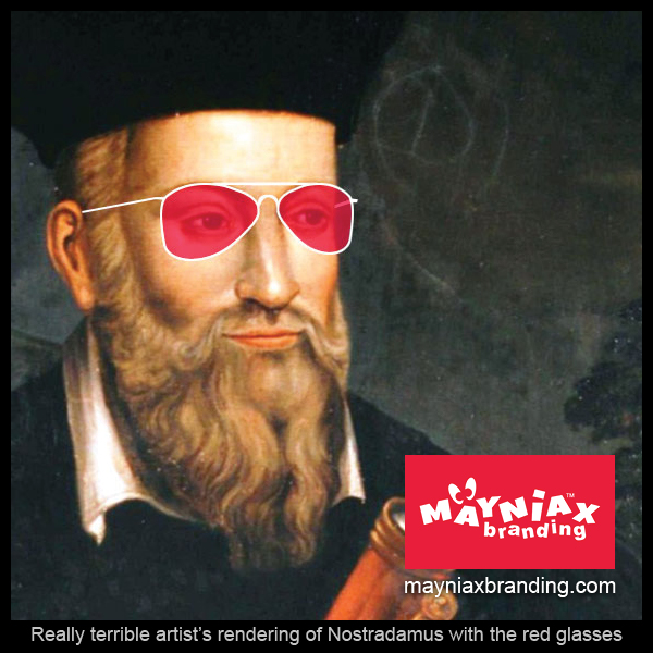 Mayniax Branding - Really terrible artist's rendering of Nostradamus with red glasses