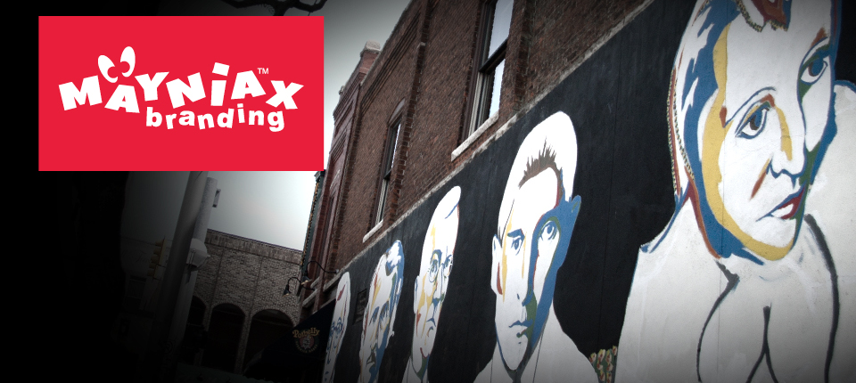A Mayniax Branding photo of the mural of Woody Allen, Edgar Allen Poe, Herman Hesse, Franz Kafka and Anais Nin in Ann Arbor, Michigan.